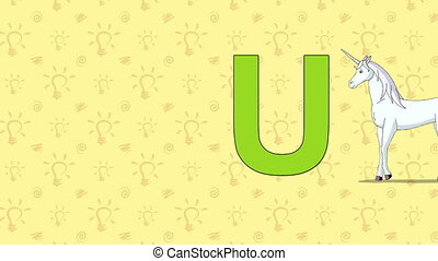 Unicorn. English ZOO Alphabet - letter U - Animated English...