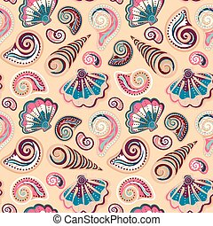 Seamless pattern with shells. Summer vector colorful...