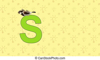 Sparrow. English ZOO Alphabet - letter S - Animated English...