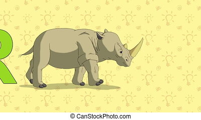 Rhino. English ZOO Alphabet - letter R - Animated English...