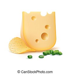 Print - Vector Potato Ripple Crispy Chips with Cheese and...