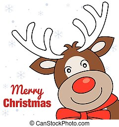 smiling face of a Reno - merry christmas card. smiling face...