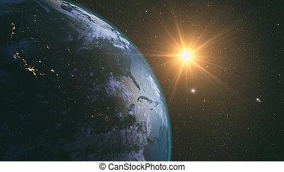 地球, 上に, 日の出