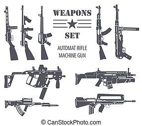 Weapon_1 - Firearm set. Automatic rifle, machine gun. Flat...