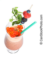 fitness cocktail with berries and flowers isolated on white