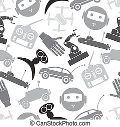 hi-tech modern technology toys simple icons seamless pattern...