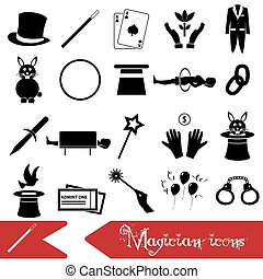 magician and magic theme set of icons eps10