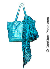 luxury blue leather female bag with shawl isolated on white