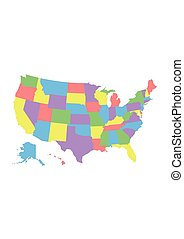 USA maps - High detail USA map with different colors for...