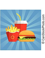 Fast food3-01.eps - Lunch with Hamburger, French Fries and...