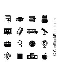 School icons-01.eps - School icons isolated on white...
