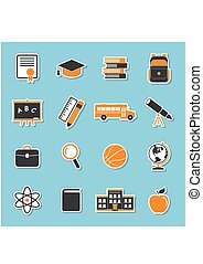 School icons2-01.eps - School icons stickers isolated on...