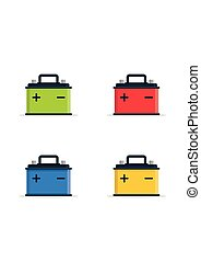 Car Battery5-01.eps - Set Car Battery icons isolated on...