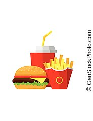 Fast food-01.eps - Lunch with Hamburger, French Fries and...