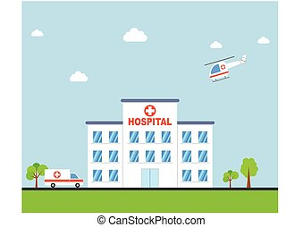 Hospital building with ambulance and helicopter flat design....