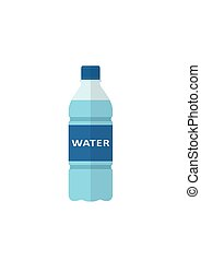 Bottle of water icon flat style isolated on white background.