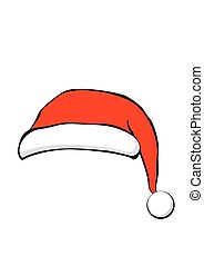 Santa Claus hat in flat style. Vector Illustration.