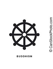 Wheel of Dharma, Dharmachakra - a symbol Buddhism and...