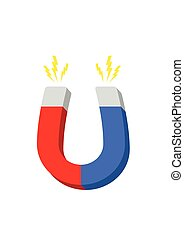 Icon horseshoe magnet, magnetism attraction. Flat design....