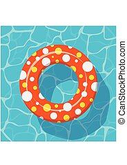 Top view Swim ring icon on the blue water background. - Top...