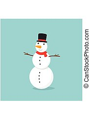 Snowman with top hat on blue background. Vector illustration