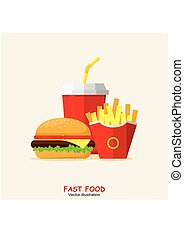 Lunch Hamburger, French Fries and Soda. Group Fast Food products.