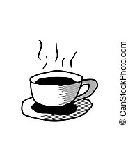 Black Cup of Coffee or Tea. Hot drink Hand drawn.