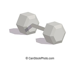 Dumbbell in flat style isolated on white background. Weight...