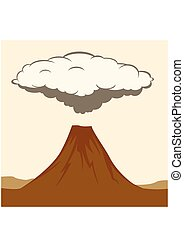 Volcanic eruption with clouds of smoke. Vector Illustratiom