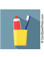 Toothbrush and Toothpaste in a glass. Toothpaste and Toothbrush icon in flat style isolated on blue background.