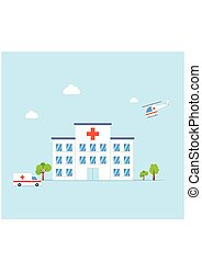 City Hospital building with ambulance and helicopter on...