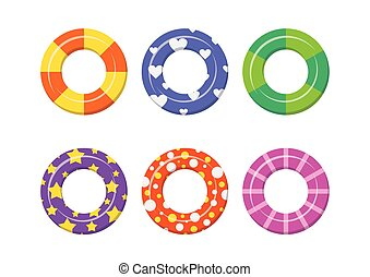 Set colorful swim rings icon isolated on white background. -...