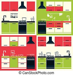 Modern Kitchen Cabinets and Household Equipment.