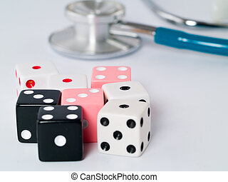 Stethoscope and Dice as a Gambling with your Health Concept