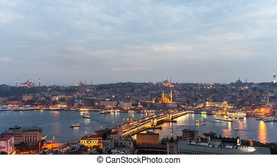 The historic center of Istanbul at sunset. Golden Horn,...