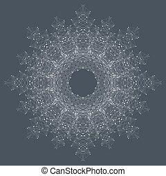 Fractal element with compounds lines and dots. Big data...