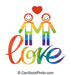 gay love symbol - Gay couple and rainbow hand drawn letters...