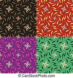 Set of seamless vector floral patterns