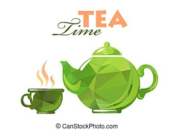 polygonal tea time - Polygonal tea cup and tea pot isolated...