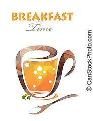 polygonal breakfast time - Polygonal tea cup with...