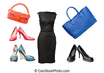 set of female shoes, dress and bags isolated on white