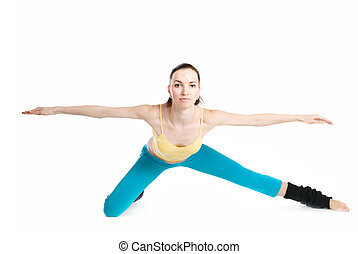 beautiful girl doing gymnastics on white background