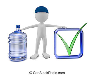 man with a bottle of purified water - a man with a bottle of...