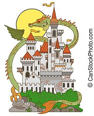 Castle and dragon cartoon vector illustration - Castle and...