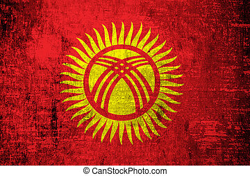 Kyrgyzstan Flag painted on old wood background