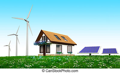 House with wind turbines and solar panels  standing  on the grass