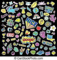Fashion quirky cartoon doodle patch badges with cute elements. Isolated vector. Set of stickers,pins,patches in comic style 80s 90s. Hearts,speech bubbles,love, lips, , eyes, stars.