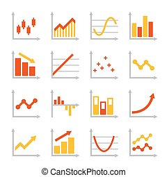 Red and Orange Business Graph Diagram Icons Set. Vector...