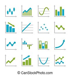 Blue and Green Business Graph Icons Set. Vector - Blue and...