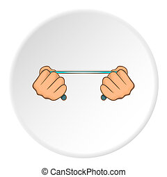 Hands stretch expander icon, cartoon style - Hands stretch...